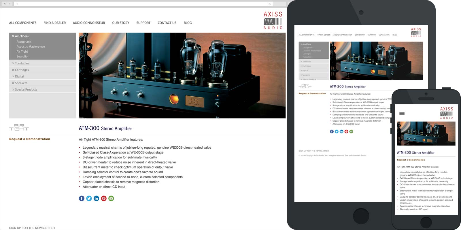 Screen capture of the Axiss Audio website in desktop, tablet, and mobile views