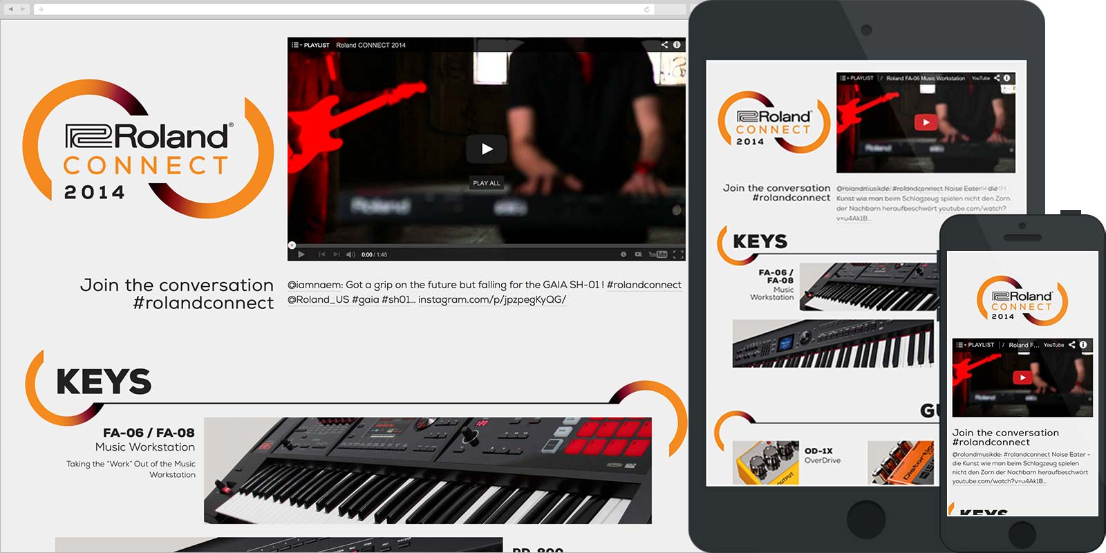 Screen capture of the Roland Connect 2014 website in desktop, tablet, and mobile views